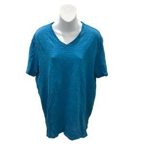 Vince Mens Blue Short Sleeve V-Neck Basic T-Shirt